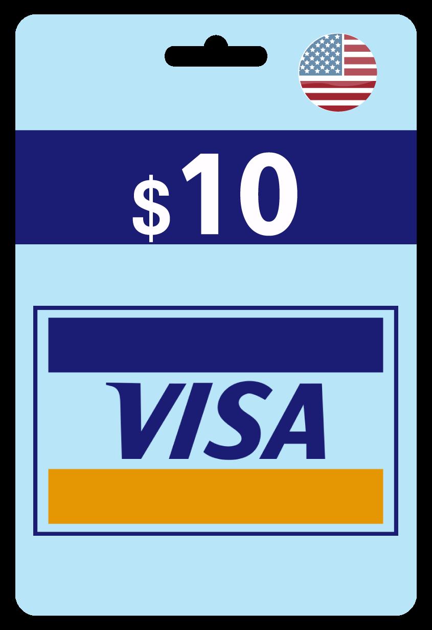 فيزا كارد 10$ أمريكي